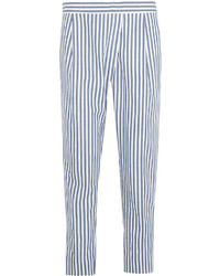 White and Blue Vertical Striped Tapered Pants
