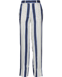 Striped silk twill wide leg pants white medium 656707