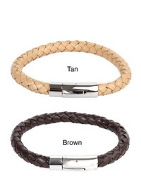 West Coast Jewelry Crucible Leather And Stainless Steel Braided Bracelet