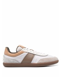 White and Brown Canvas Low Top Sneakers