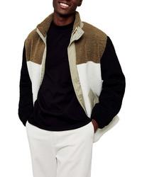 Topman Cut Sew Colorblock Fleece Jacket