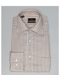 White and Brown Gingham Dress Shirt
