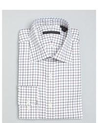 Hart Schaffner Marx Blue And Brown Tattersall Check Cotton Spread Collar Dress Shirt