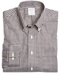 White and Brown Gingham Long Sleeve Shirt