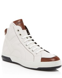 White and Brown High Top Sneakers