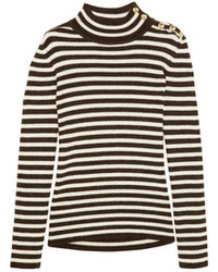Bouchra jarrar striped wool and alpaca blend sweater medium 105549