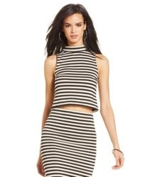 White and Brown Horizontal Striped Cropped Top