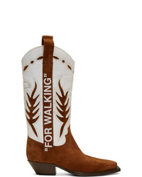 White and Brown Leather Cowboy Boots
