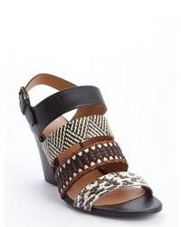 Rin black and white and brown snakeskin detail carlita heel sandals medium 77575