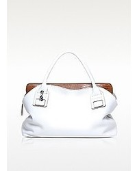 Francesco Biasia Vendome White Leather Tote