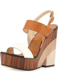 White and Brown Leather Wedge Sandals