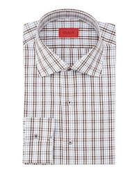 White and Brown Plaid Dress Shirt