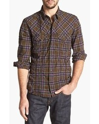 White and Brown Plaid Long Sleeve Shirt