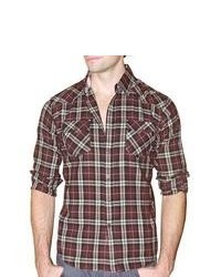 191 Unlimited Brown Plaid Flannel Shirt