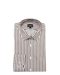 White and Brown Vertical Striped Dress Shirt