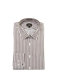 Neiman Marcus Regular Finish Classic Fit Striped Dress Shirt Brownwhite