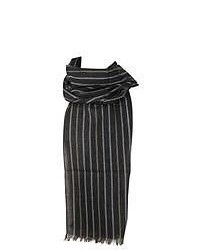 Dents two tone striped scarf charcoal medium 48718