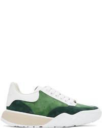 Alexander McQueen Green Suede Court Trainer Sneakers