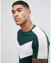ASOS DESIGN T Shirt With Contrast Chevron Panel In Interest Fabric In Khaki