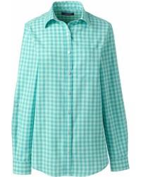 Landsend petite cotton linen roll sleeve shirt medium 6990571