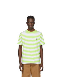 White and Green Horizontal Striped Crew-neck T-shirt