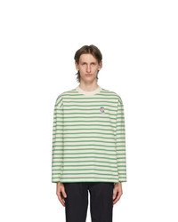 White and Green Horizontal Striped Long Sleeve T-Shirt