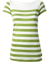 White and Green Horizontal Striped Short Sleeve Blouse