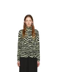 Proenza Schouler White And Green White Label Zebra Print Turtleneck