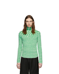 Judy Turner Green And White Knit Turtleneck