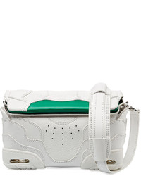 White and Green Leather Clutch