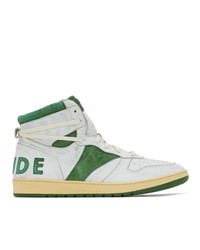 White and Green Leather High Top Sneakers