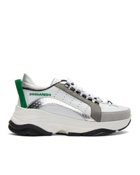 DSQUARED2 White And Green Bumpy 551 Sneakers