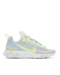 Nike White And Green React Elet 55 Sneakers
