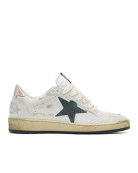 Golden Goose White And Green Sneakers