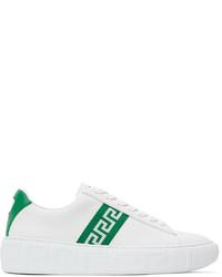 Versace White Green Greca Low Top Sneakers