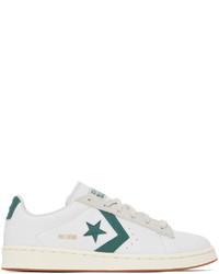 Converse White Green Leather Pro Low Top Sneakers
