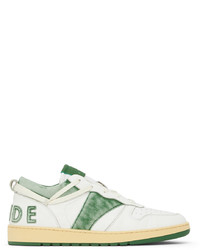 Rhude White Green Rhecess Low Sneakers