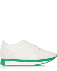 Burberry Prorsum Textured Leather Suede And Mesh Sneakers