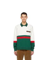 Gucci White And Green Web Stripe Polo Sweatshirt
