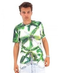 White and Green Print Crew-neck T-shirt