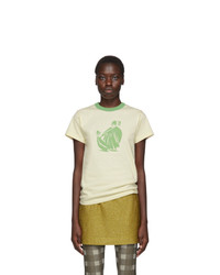 Lanvin Off White And Green Printed T Shirt