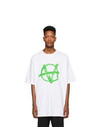 Vetements White And Green Anarchy T Shirt