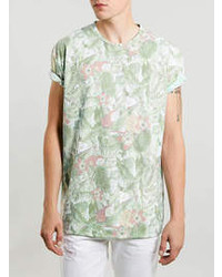 Topman White Tropical Pattern T Shirt