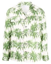 813 Palm Tree Print Linen Shirt