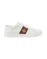 Gucci Ace Embroidered Leather Collapsible Heel Sneakers