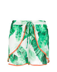 White and Green Print Shorts