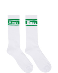 Rhude White And Green Logo Socks