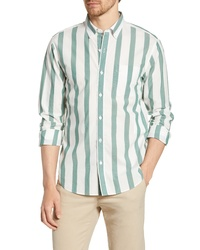 White and Green Vertical Striped Long Sleeve Shirt