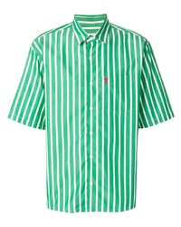 White and Green Vertical Striped Short Sleeve Shirt