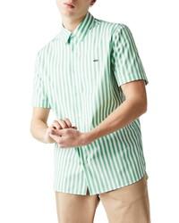 Lacoste Regular Fit Stripe Short Sleeve Button Up Shirt
